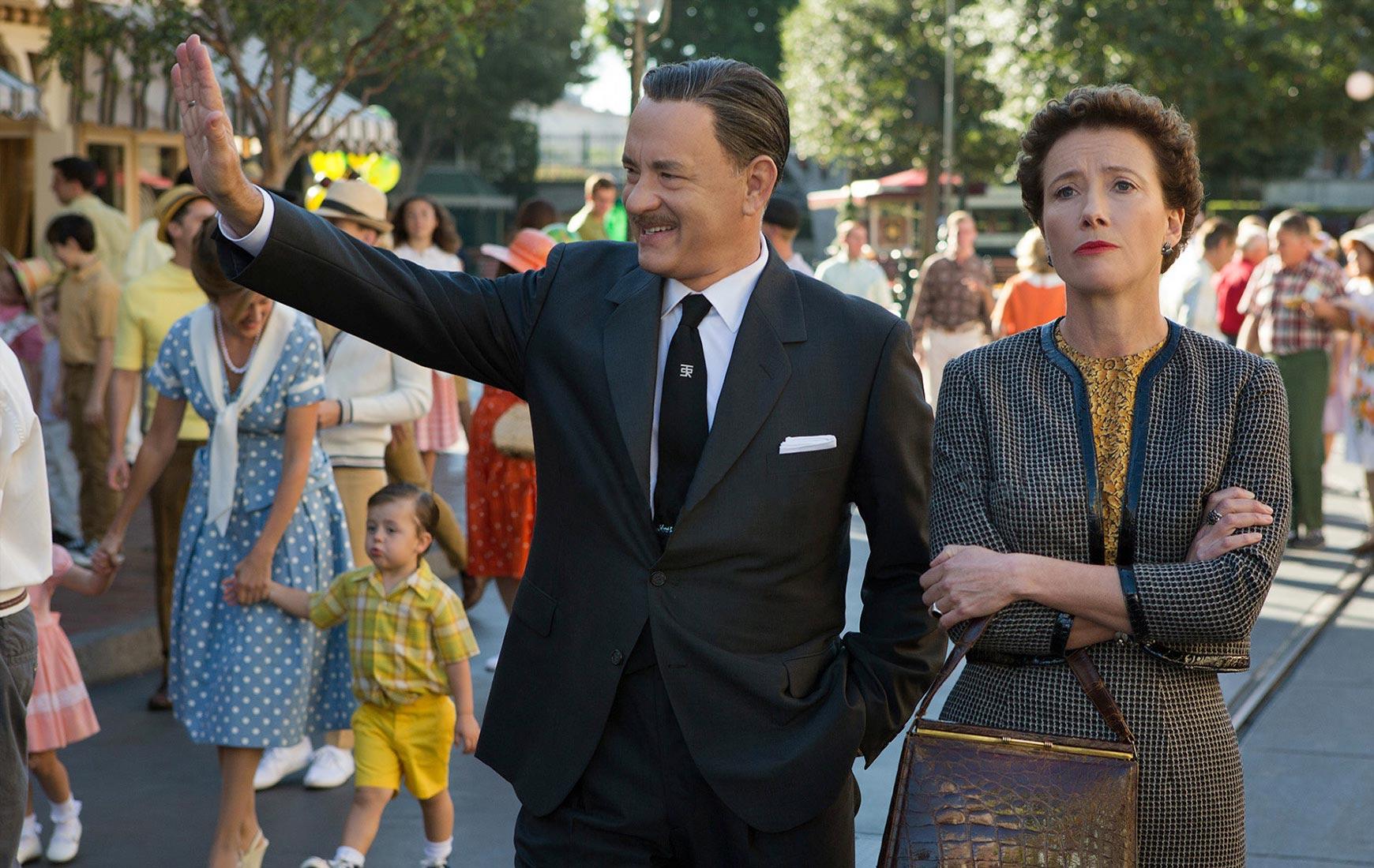 Tom Hanks as Walt Disney and Emma Thompson as P.L. Travers